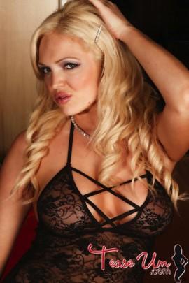 Kali sexy blonde in sheer top