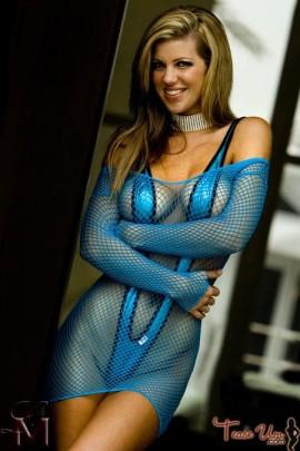 Nicole Churchill sexy bikini babe in blue