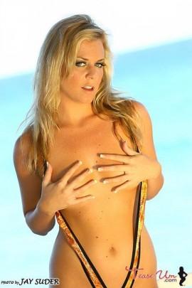 Alex Hayes sexy bikini babe hand bra