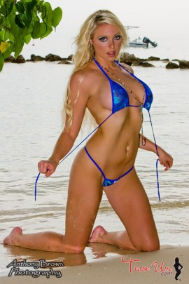 Alexa Devine wet and busty model at the beach