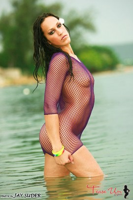 Alicia Puckey hot bikini girl in purple mesh