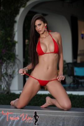 Anais Zanotti busty brunette in red bikini
