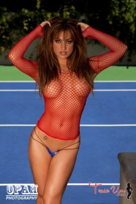 Angela Sommers gorgeous in red mesh top pic