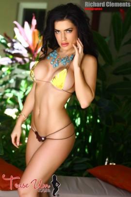 CJ Sparxx sexy bikini babe in yellow