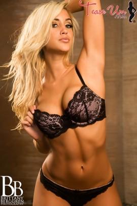Claudia hot blonde in black lingerie