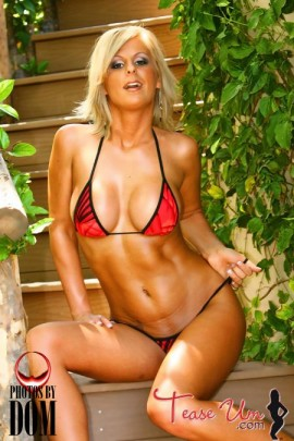 Jessica Denney hot bikini babe in red