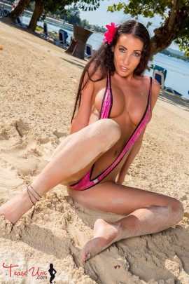 teaseum model tricia danielli on the beach