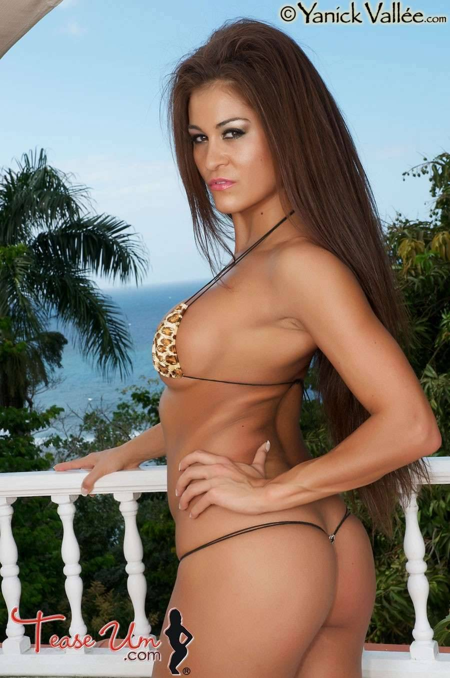 Zara Hawk looking wild in a leopard bikini top. thumb 2