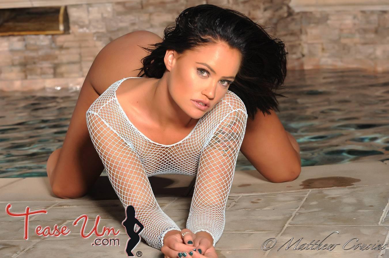 Olivia Chambers hot model in white mesh top thumb 1