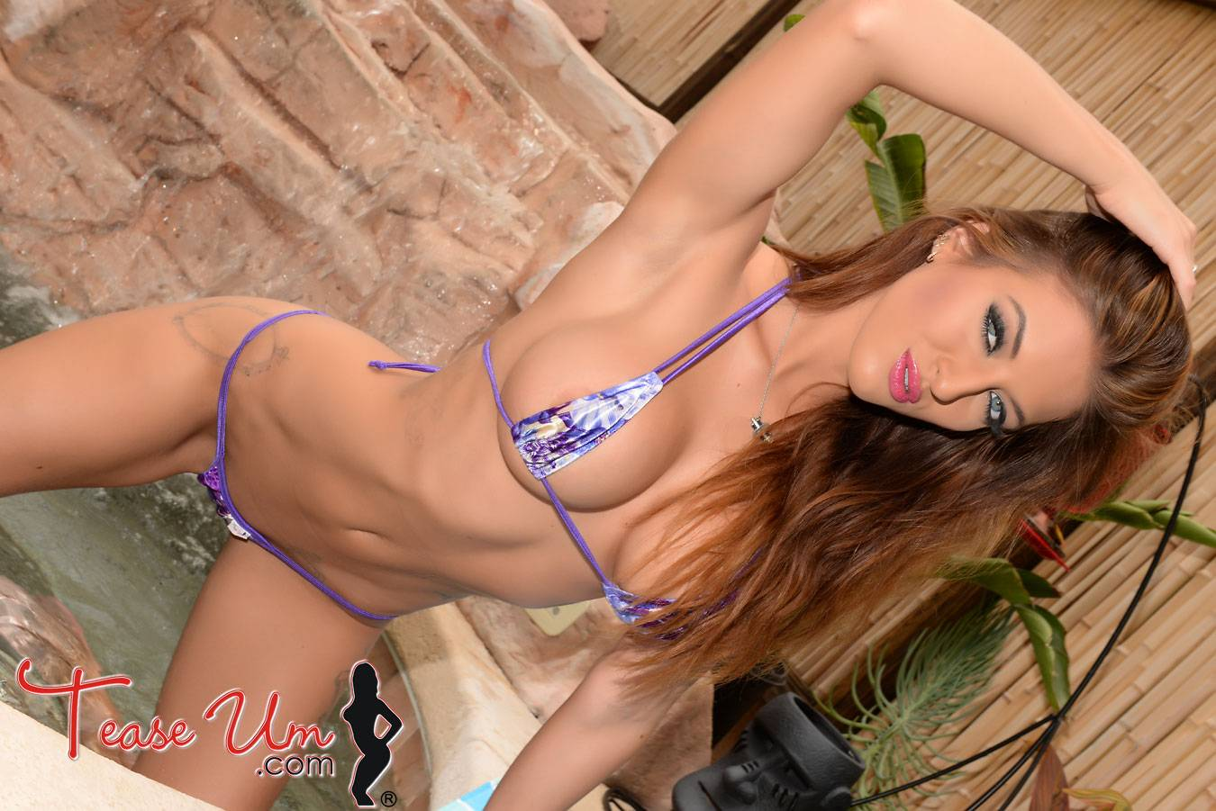 teaseum model Crystal Knight purple bikini poolside thumb 2