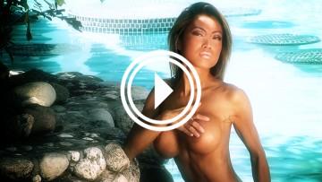 Busty Asian bikini model Sydney topless hand bra.